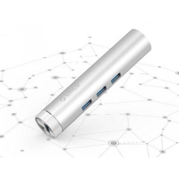 35506 - USB HUB Orico ARH3L-У3 с интерфейсом RJ45 - USB 3.0 х 3, 2 кабеля с USB и Type-C