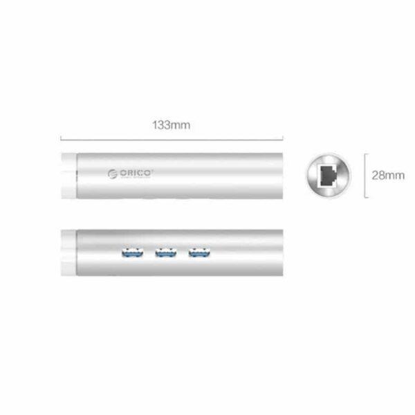 35508 - USB HUB Orico ARH3L-У3 с интерфейсом RJ45 - USB 3.0 х 3, 2 кабеля с USB и Type-C