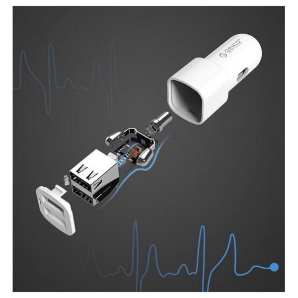 35587 - Автомобильное зарядное устройство ORICO UCL-2U - 2 х USB, интеллектуальная быстрая зарядка, 5V 3.4A 17Вт