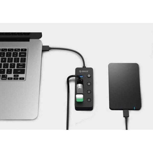 35595 - 4-портовый HUB ORICO W9PH4 - 4 x USB 3.0, 0.3 м / 1.3 м кабель, переключатели, до 5 Гб/с