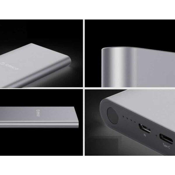35735 - Ультратонкий powerbank ORICO T1 с Type-C интерфейсом - Micro USB in, USB out, Type-C 5V 2.4A