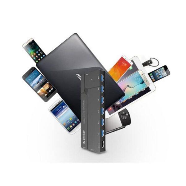 35805 - Многофункциональный HUB ORICO IH6CS - 6 х USB 3.0 для передачи данных, картридер SD, 3 х USB для зарядки