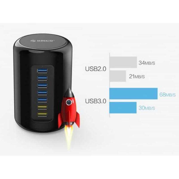 35845 - 7-портовый HUB USB 3.0 ORICO RH7-У3 с функцией зарядки