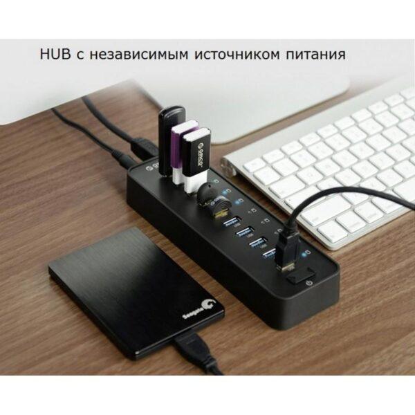 35873 - 10-портовый USB-концентратор ORICO P10-У3 - USB3.0, функция зарядки, независимые индикаторы