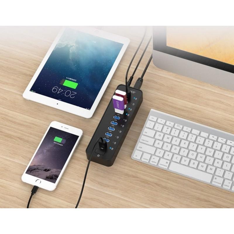 35877 - 10-портовый USB-концентратор ORICO P10-У3 - USB3.0, функция зарядки, независимые индикаторы