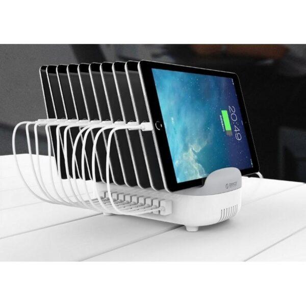 35896 - Универсальное зарядное устройство с подставкой ORICO DUK-10P - 10 х USB 5В 2.4А, 120 Вт, интеллектуальная зарядка