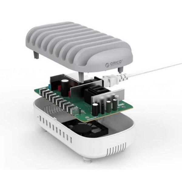 35897 - Универсальное зарядное устройство с подставкой ORICO DUK-10P - 10 х USB 5В 2.4А, 120 Вт, интеллектуальная зарядка