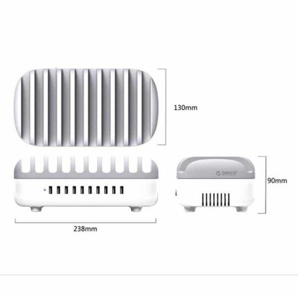 35898 - Универсальное зарядное устройство с подставкой ORICO DUK-10P - 10 х USB 5В 2.4А, 120 Вт, интеллектуальная зарядка