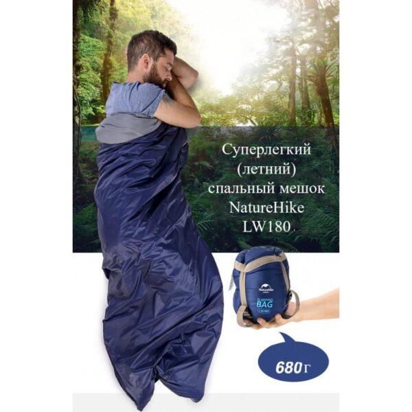 36090 - Суперлегкий (летний) спальный мешок NatureHike LW180: температура комфорта 15°