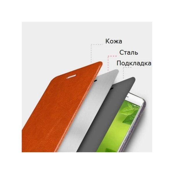 36222 - Кожаный флип-чехол для Xiaomi 5c от MOFI - фактура Crazy Horse, горизонтальный держатель