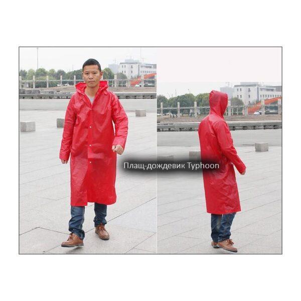 36458 - Полупрозрачный многоразовый плащ-дождевик Typhoon: детские, взрослые размеры, высокое качество