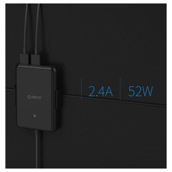 36485 - Автомобильный зарядный USB HUB с удлинителем ORICO UCP-5P - QC 3.0 + 5В 2.4А х 4, 12-24V, 52 Вт, зажим-держатель