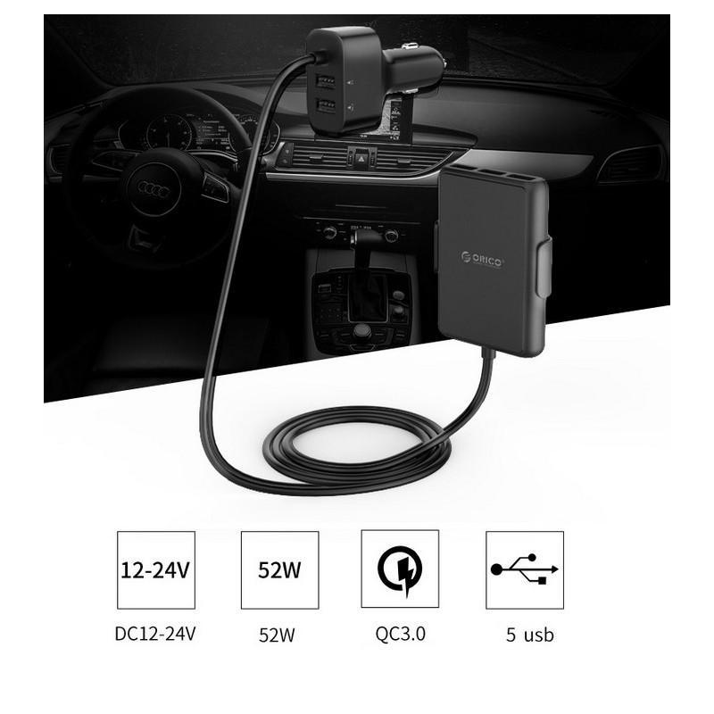 36488 - Автомобильный зарядный USB HUB с удлинителем ORICO UCP-5P - QC 3.0 + 5В 2.4А х 4, 12-24V, 52 Вт, зажим-держатель