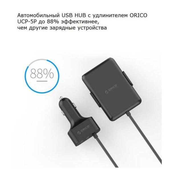36489 - Автомобильный зарядный USB HUB с удлинителем ORICO UCP-5P - QC 3.0 + 5В 2.4А х 4, 12-24V, 52 Вт, зажим-держатель
