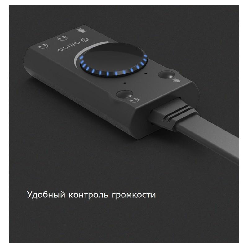 Внешняя звуковая карта USB ORICO SC2 – независимые разъемы для микрофона, гарнитуры и наушников, стереозвук 212537