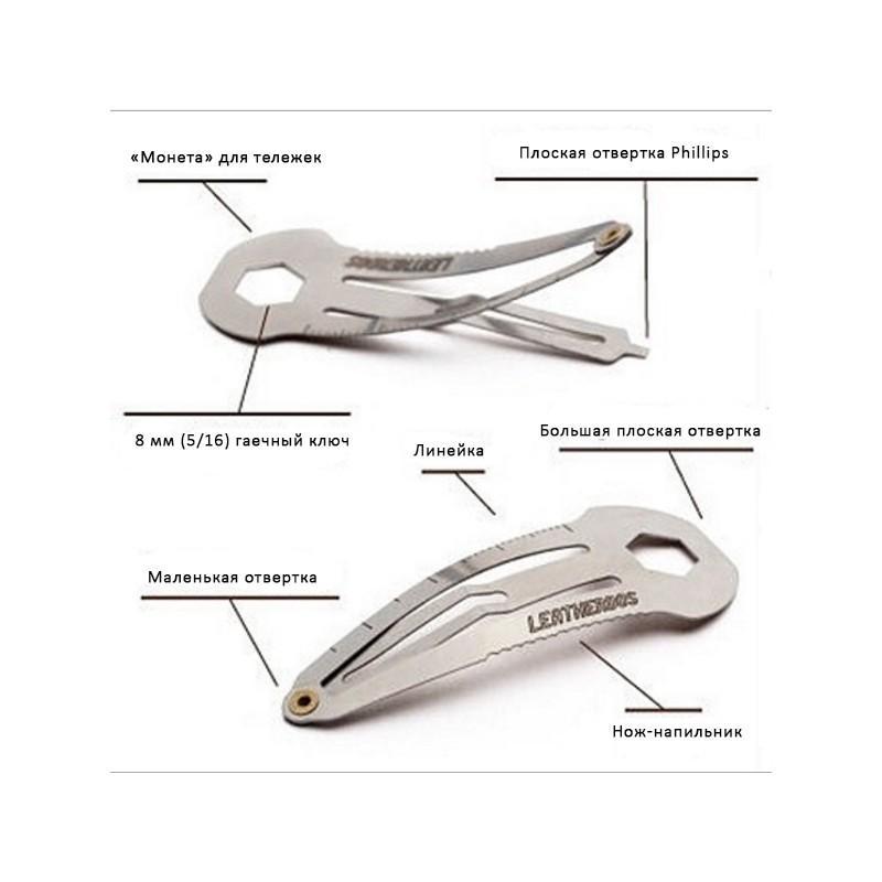 36725 - Многофункциональная заколка EDC 8 в 1: плоская/ большая/ маленькая отвертка, гаечный ключ, линейка, нож, монета для тележек