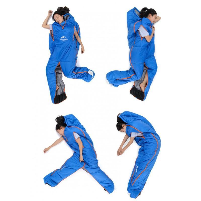 Теплый спальный мешок-комбинезон (спальник-трансформер с ногами) NatureHike + компрессионный чехол: t° комфорта 10°, 212661