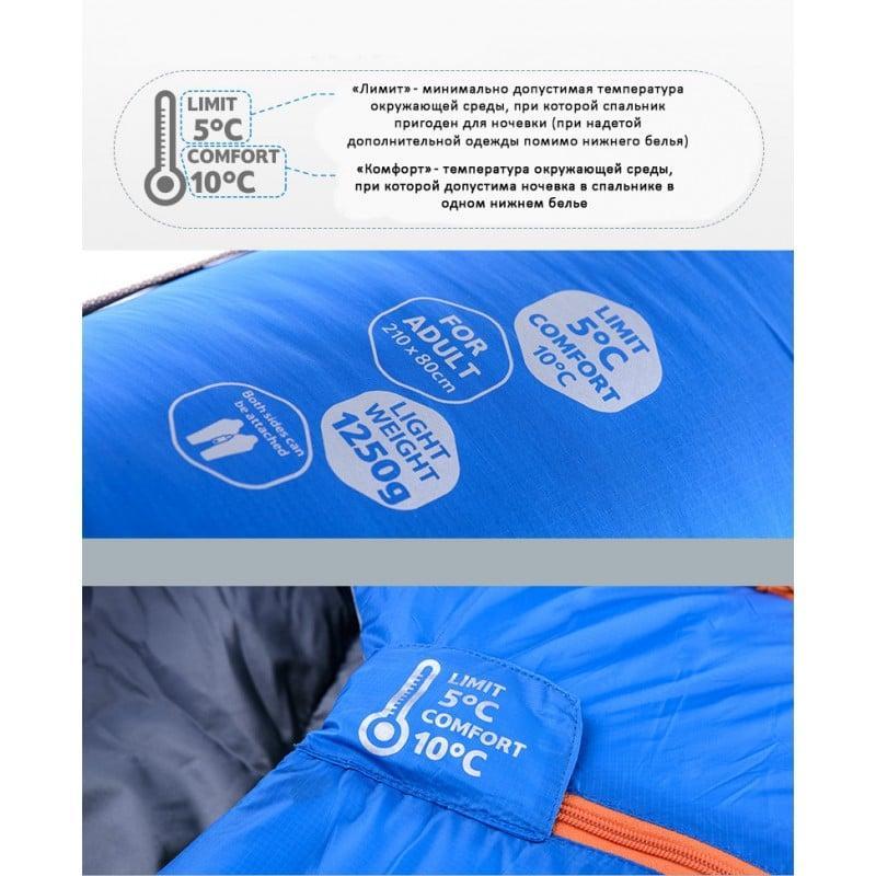 Теплый спальный мешок-комбинезон (спальник-трансформер с ногами) NatureHike + компрессионный чехол: t° комфорта 10°, 212663