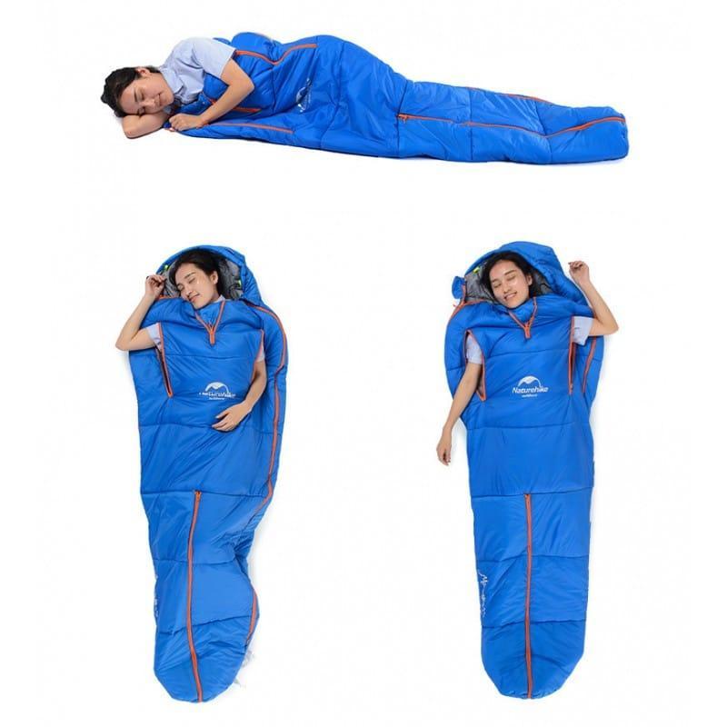 Теплый спальный мешок-комбинезон (спальник-трансформер с ногами) NatureHike + компрессионный чехол: t° комфорта 10°, 212666