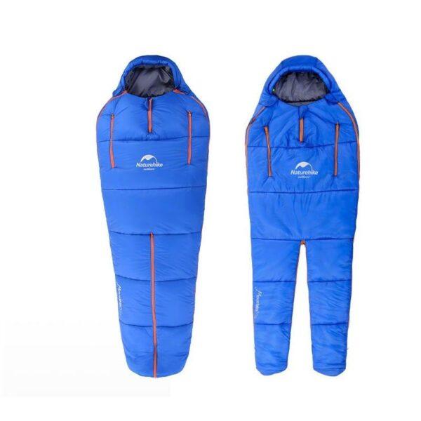 36760 - Теплый спальный мешок-комбинезон (спальник-трансформер с ногами) NatureHike + компрессионный чехол: t° комфорта 10°,