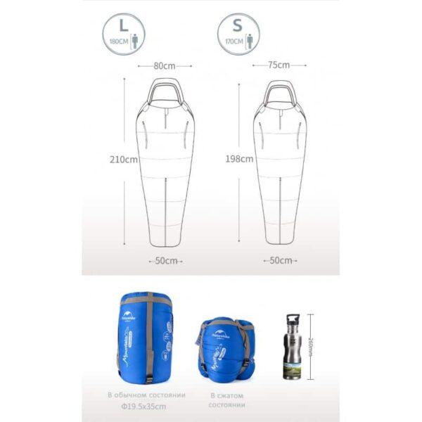 36764 - Теплый спальный мешок-комбинезон (спальник-трансформер с ногами) NatureHike + компрессионный чехол: t° комфорта 10°,