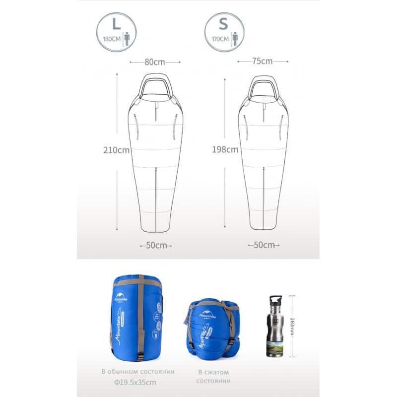 Теплый спальный мешок-комбинезон (спальник-трансформер с ногами) NatureHike + компрессионный чехол: t° комфорта 10°, 212670