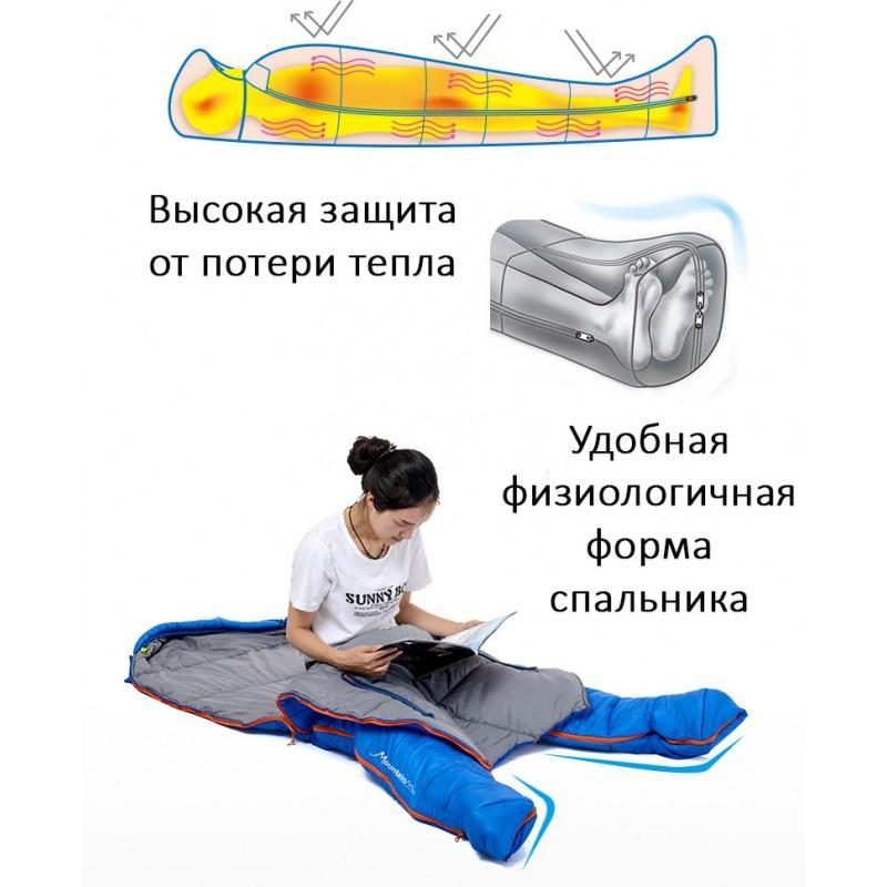 Теплый спальный мешок-комбинезон (спальник-трансформер с ногами) NatureHike + компрессионный чехол: t° комфорта 10°, 212671