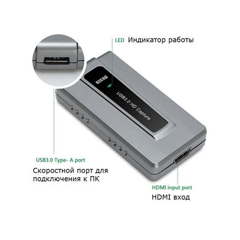 36806 - Внешнее устройство видеозахвата EZCAP 287 - USB 3.0, HDMI, 1080P, до 60 кадров в секунду