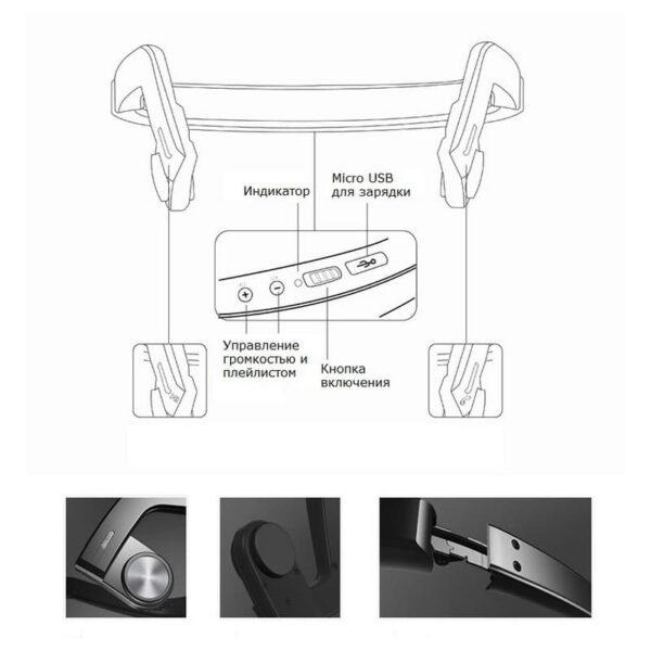 36872 - Костные Bluetooth наушники BEASUN ZD100 - Bluetooth 4.0, до 8 часов музыки, микрофон