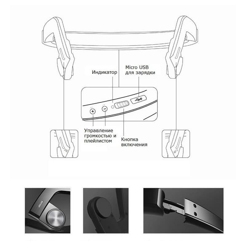 Костные Bluetooth наушники BEASUN ZD100 – Bluetooth 4.0, до 8 часов музыки, микрофон 212768