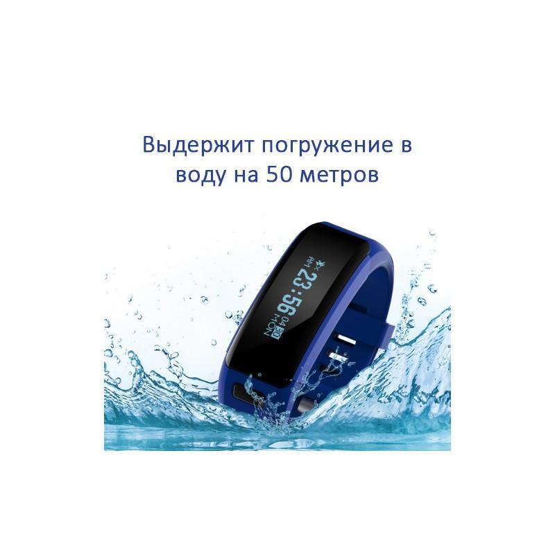 Водонепроницаемый смарт-браслет DT.NO1 F1:Bluetooth 4.0, пульсометр, шагомер, умный будильник, уведомления о звонке, SMS, IP68 - Синий