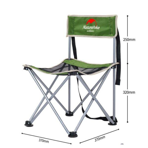 37008 - Складной походный стул Naturehike: водонепроницаемый нейлон 600D, сталь, нагрузка свыше 100 кг