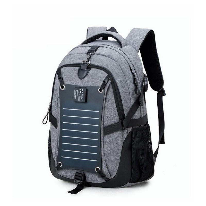 37076 - Вместительный рюкзак с солнечной панелью - карман для ноутбука, 2 х USB для зарядки, съемная солнечная панель