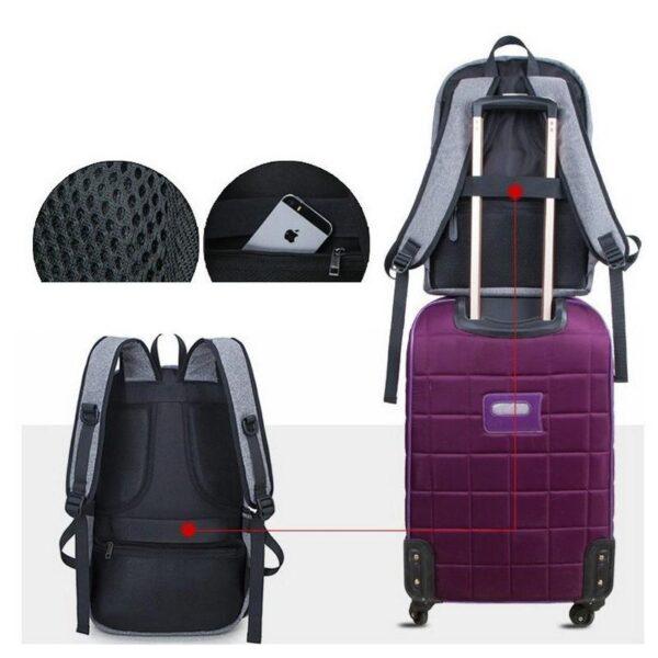 37082 - Вместительный рюкзак с солнечной панелью - карман для ноутбука, 2 х USB для зарядки, съемная солнечная панель