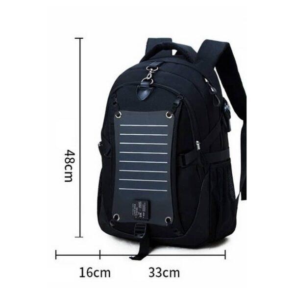 37089 - Вместительный рюкзак с солнечной панелью - карман для ноутбука, 2 х USB для зарядки, съемная солнечная панель