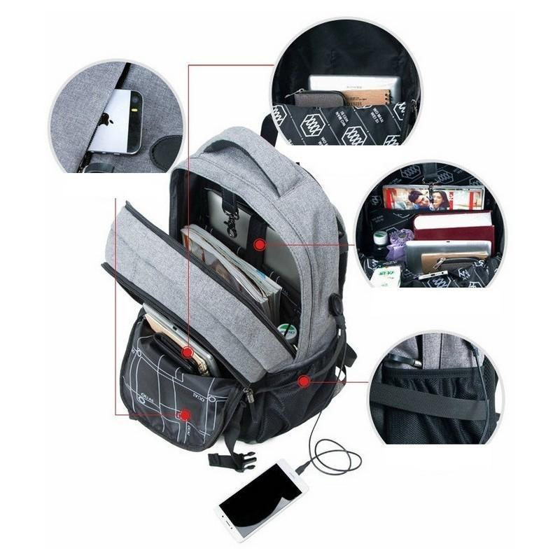 Вместительный рюкзак с карманом для ноутбука - Серый