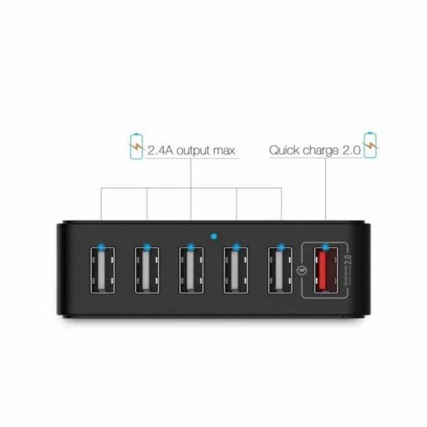 37270 - Деревянное зарядное устройство Seenda 3 in 1 Wood - держатель, 5 портов USB + быстрая зарядка, беспроводная зарядка