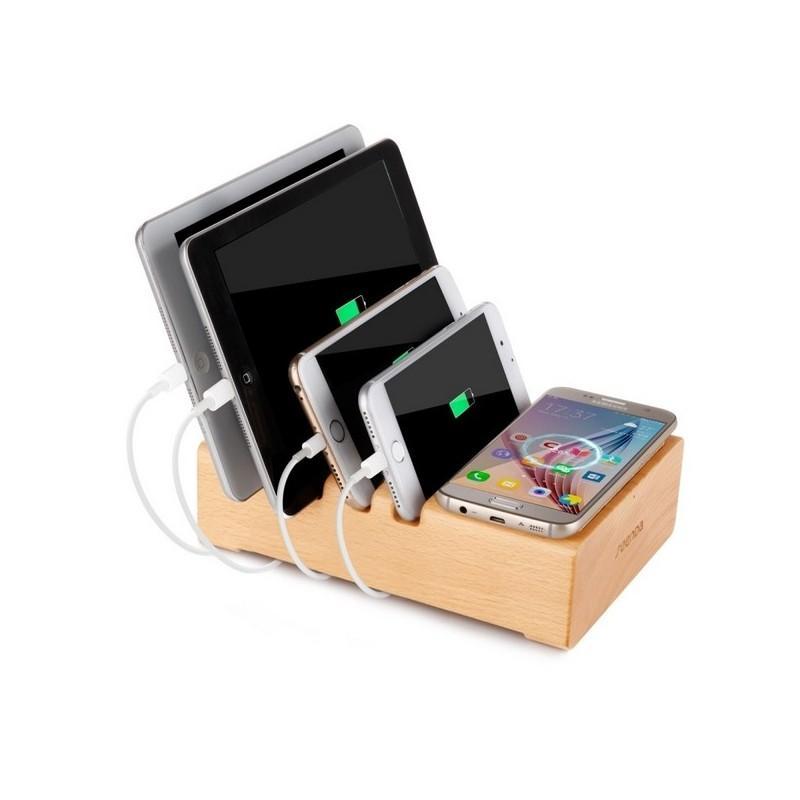 37272 - Деревянное зарядное устройство Seenda 3 in 1 Wood - держатель, 5 портов USB + быстрая зарядка, беспроводная зарядка