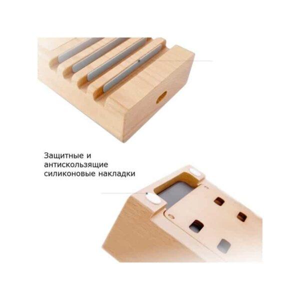 37274 - Деревянное зарядное устройство Seenda 3 in 1 Wood - держатель, 5 портов USB + быстрая зарядка, беспроводная зарядка