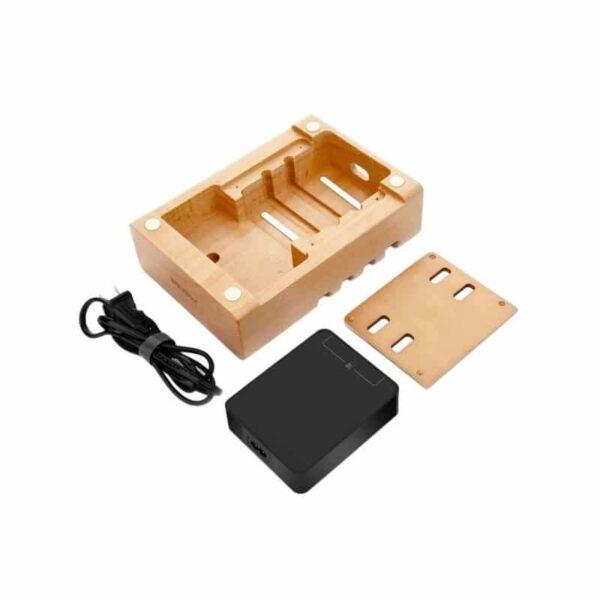 37275 - Деревянное зарядное устройство Seenda 3 in 1 Wood - держатель, 5 портов USB + быстрая зарядка, беспроводная зарядка