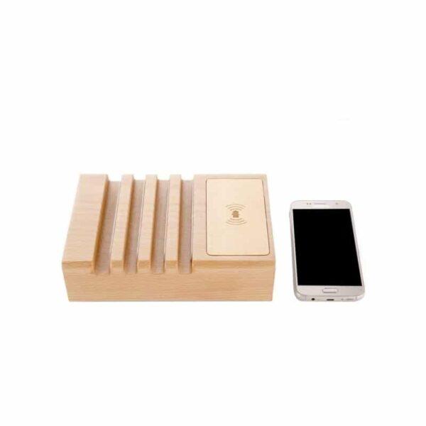 37276 - Деревянное зарядное устройство Seenda 3 in 1 Wood - держатель, 5 портов USB + быстрая зарядка, беспроводная зарядка