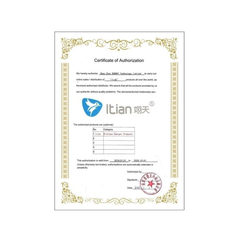 Беспроводное Qi зарядное устройство Itian Wireless Charger 213130
