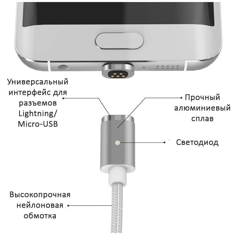 Магнитный нейлоновый USB-кабель Wsken X-cable Mini 2 для iPhone, Android: Micro-USB/ Lightning для Apple (1 м) 213352