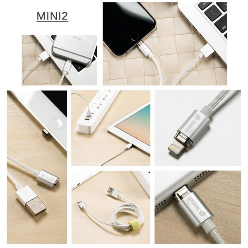 Магнитный нейлоновый USB-кабель Wsken X-cable Mini 2 для iPhone, Android: Micro-USB/ Lightning для Apple (1 м) 213357