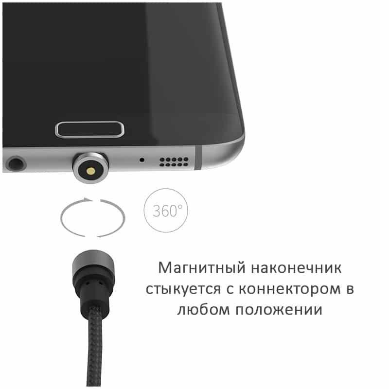 Круговой магнитный USB-кабель X-cable Wsken с коннекторами для всех типов разъемов: Micro-USB/ Lightning (Apple), USB Type-C 213504
