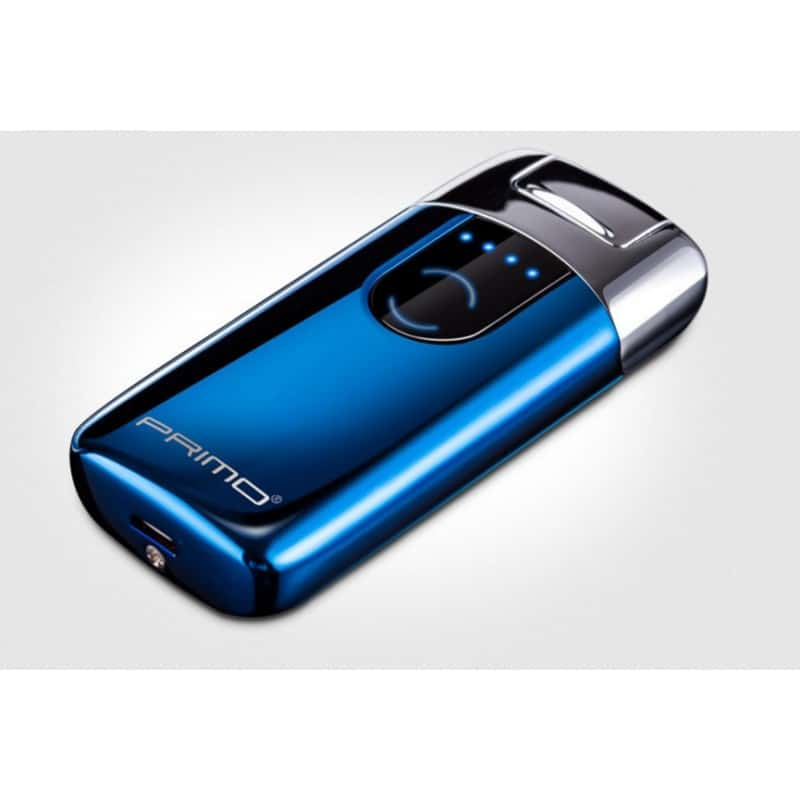 Плазменная электроимпульсная USB-зажигалка Primo Elegance с сенсорной кнопкой - Голубой лед