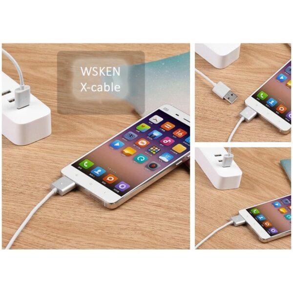 37980 - Магнитный USB-кабель (2,4А) WSKEN X-cable для устройств с Micro-USB: быстрая зарядка