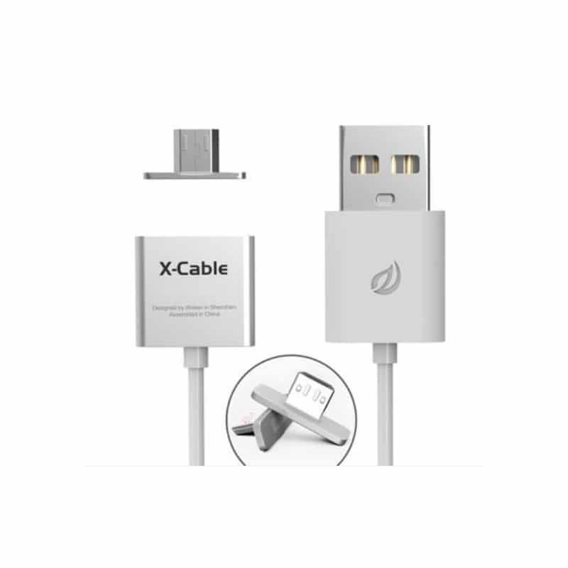 Магнитный USB-кабель (2,4А) WSKEN X-cable для устройств с Micro-USB: быстрая зарядка - Белый кабель + 2 переходника