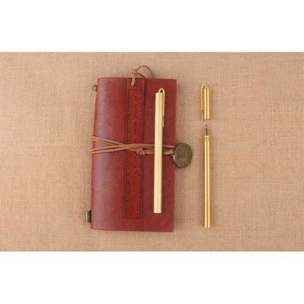 38225 - Металлическая латунная шариковая ручка: блестящая, матовая, стержень и чехол в комплекте