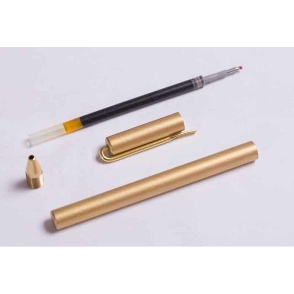 38230 - Металлическая латунная шариковая ручка: блестящая, матовая, стержень и чехол в комплекте